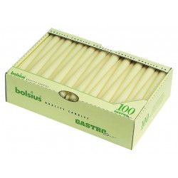 """10"""" tapered dinner candles Case 100 Ivory"""