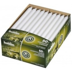 "12"" Straight sided candles BOX 50 White"